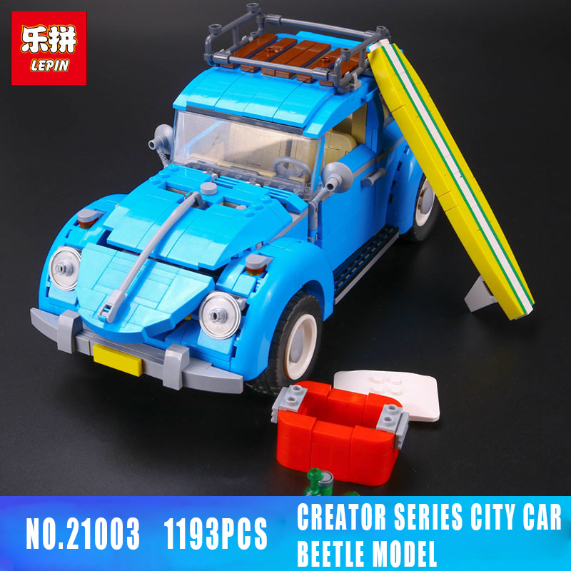 Lepin 21003 1193Pcs Technic Series Blue Beetle Car Model Enlighten Building Blocks Bricks for Kids LegoING Toys 10252 lepin 21003 series city car beetle model building blocks blue technic children lepins toys gift clone 10252