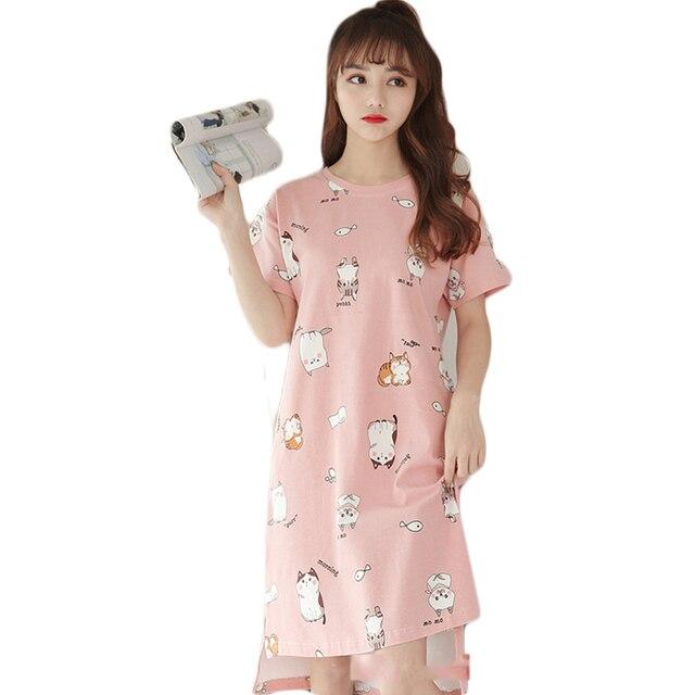 beb264d4c Summer Pink Night Dress Women Cotton Sleep Wear Sleeping Dress Bielizna  Nocna Nightgown Vestidos Largos Ladies Nightwear QS21