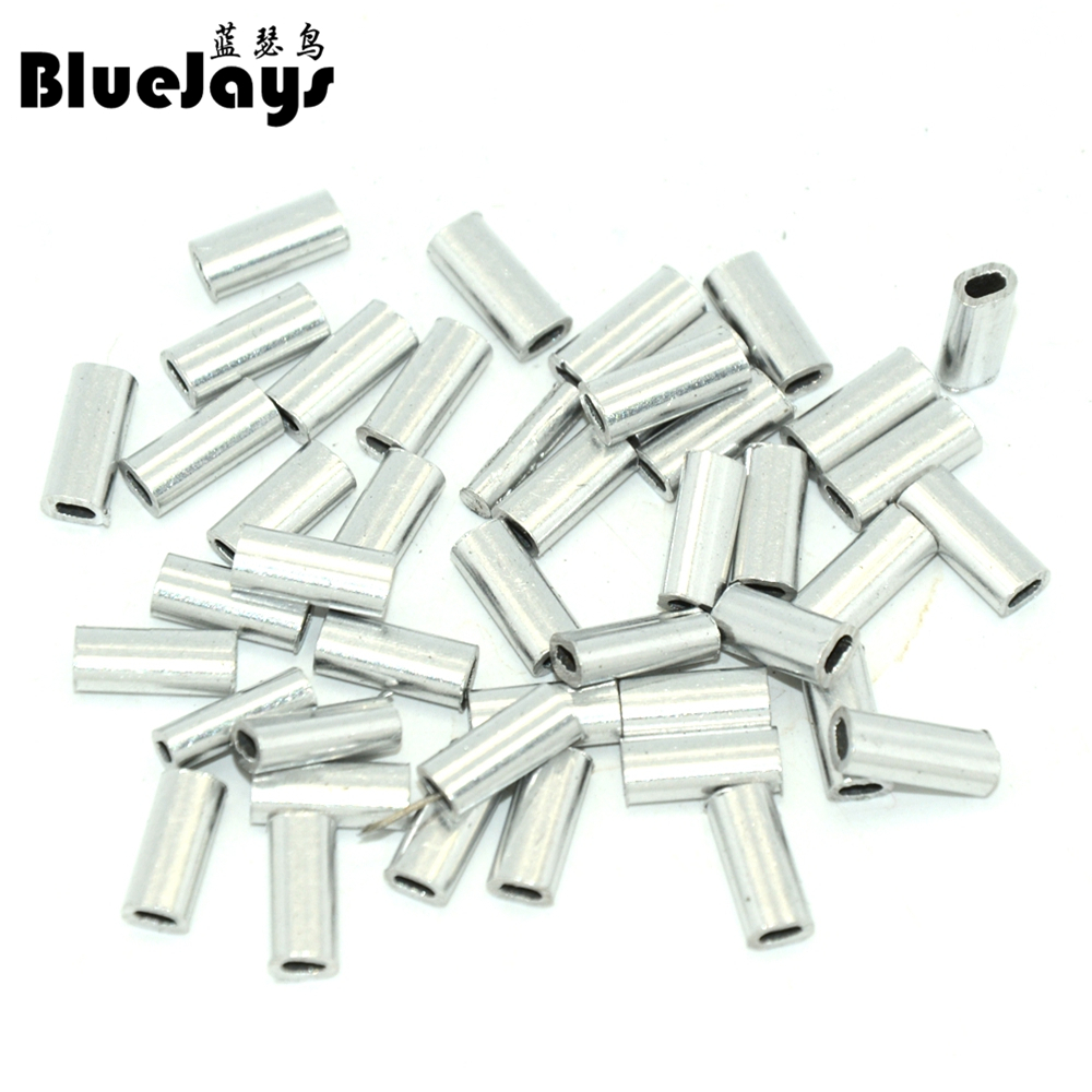 BlueJays 100pcs/lot Silver Oval Aluminum Fishing Tube Fishing Wire Pipe Crimp Sleeves Connector Fishing Line Accessories
