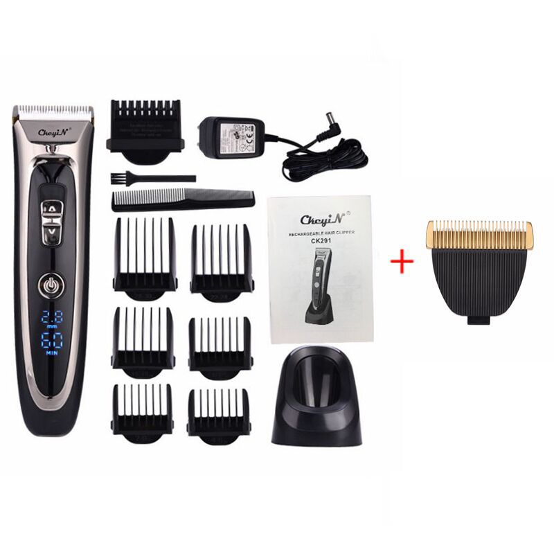 100-240V Professional Digital Hair Trimmer Rechargeable Electric Hair Clipper Men's Cordless Haircut Adjustable Ceramic Blade 40