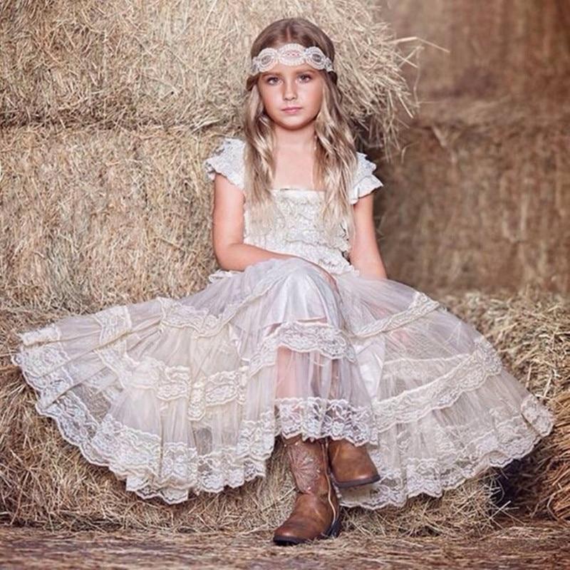 Adorable Children Girl Dresses Ivory Lace Flower Girl Dress Birthday Party Prom Dresses For Toddler Girls