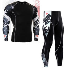 Fashion Men Compression Set Base Layer Skin-Tight MMA Workout Fitness Male Clothing Set Long Sleeve Suit Top Skin Tight Leggings(China)