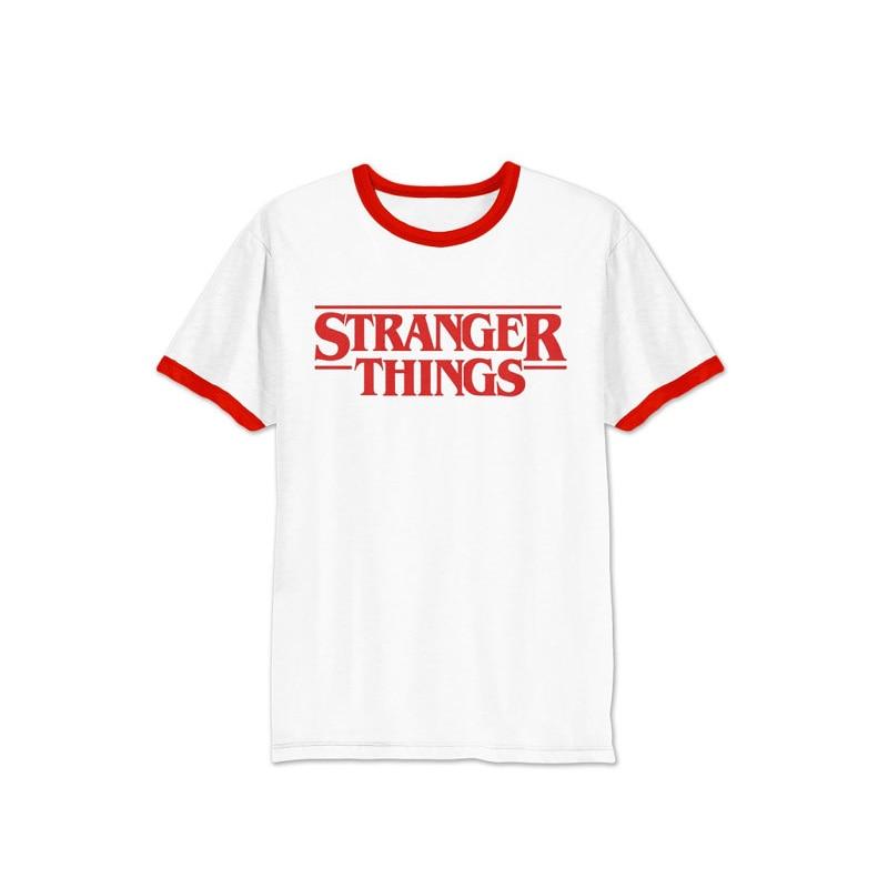 MOBTRS STRANGER THINGS Men Letter Print T Shirt Fashion T