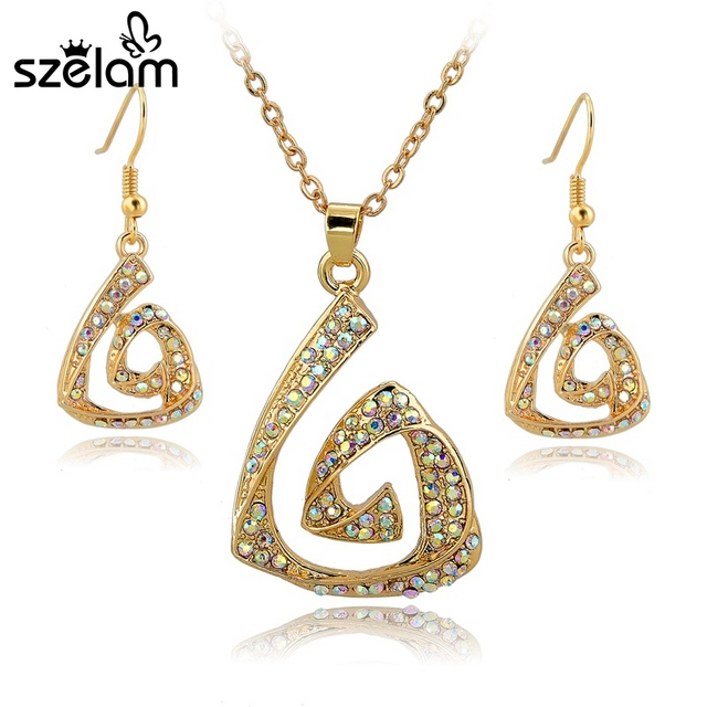 Full AB Color Crystal Necklace Set Earrings Wedding Bridal