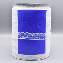 Wholesale 600yards/Roll White Lace Ribbon Width/22mm Trim Fabric Embroidered Sewing Decoration African Applique