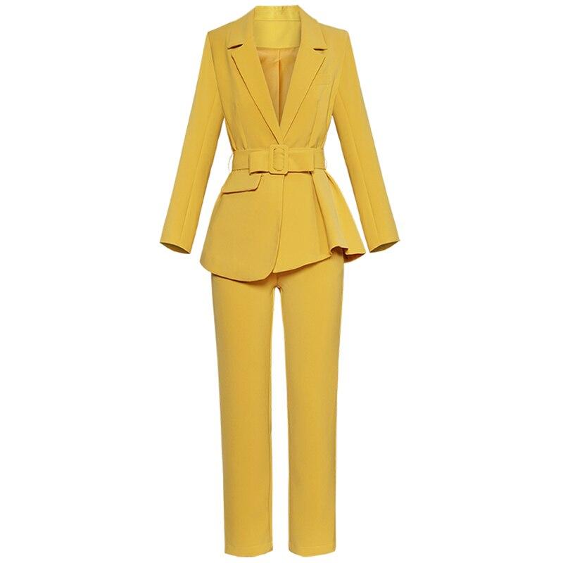 ฤดูใบไม้ร่วงใหม่ผู้หญิงชุดแฟชั่น Turn down เปิดไม่สม่ำเสมอเสื้อ + กางเกงตรง Ol ชุด 2018-ใน ชุดสตรี จาก เสื้อผ้าสตรี บน   1