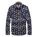 2016 Men's Print Shirts Brand design Owl pattern Long Sleeves High Quality shirt Casual Plus Size shirt Slim Fit Dress Shirts