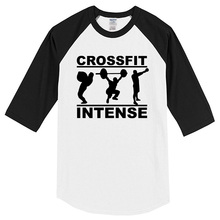 Crossfit Intense 2017 summer three quarter sleeve 100% cotton T-shirt casual brand clothing men's T-shirts Crossfit top t shirt