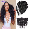 4 Bundles Virgin Human Hair With Frontal Malaysian Loose Wave With Frontal Closure Closure Ear To Ear Lace Frontal With Bundles