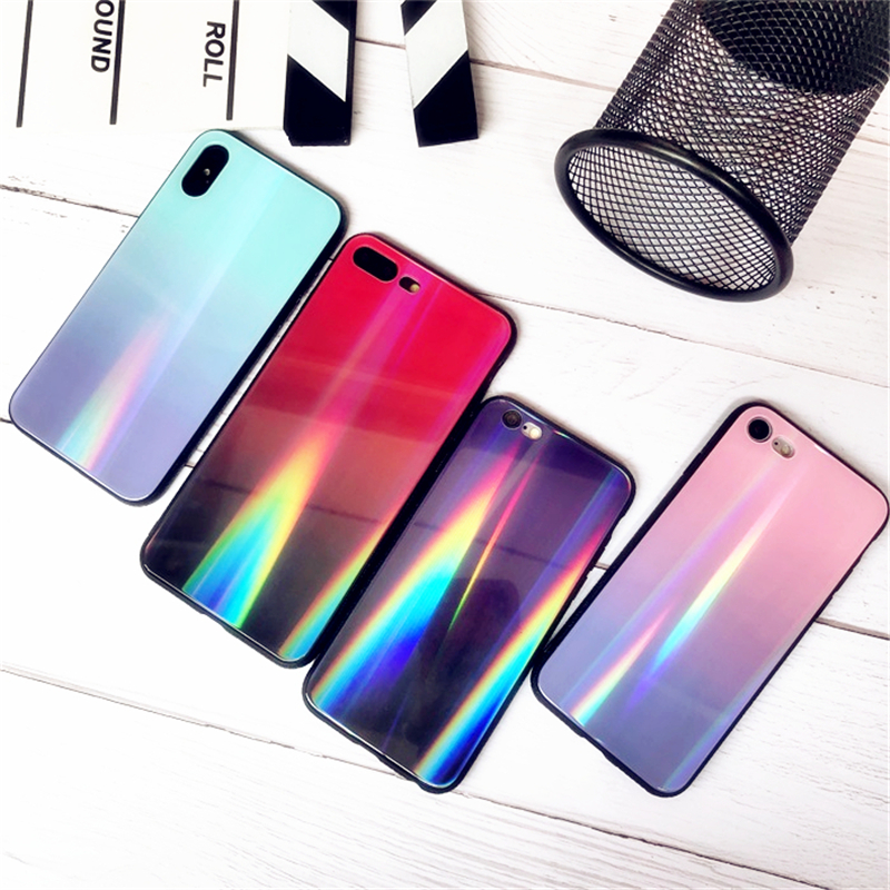 BONVAN For iPhone X 7 8 Plus Tempered Glass Back Case Gradient Color Laser Aurora Silicone Bumper For iPhone 7 6S 8 6 Plus Cover19
