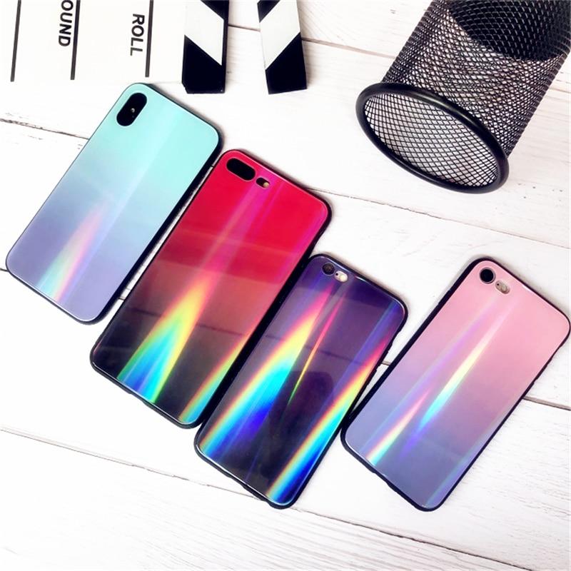BONVAN For iPhone X 7 8 Plus Tempered Glass Back Case Gradient Color Laser Aurora Silicone Bumper For iPhone 7 6S 8 6 Plus Cover19