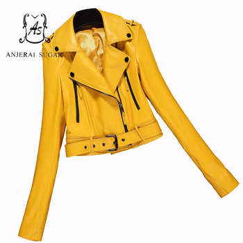 Spring autumn Short genuine leather jacket Women sheepskin motorcycle clothing femalekorea sexy slim OL Zippers design Jacket