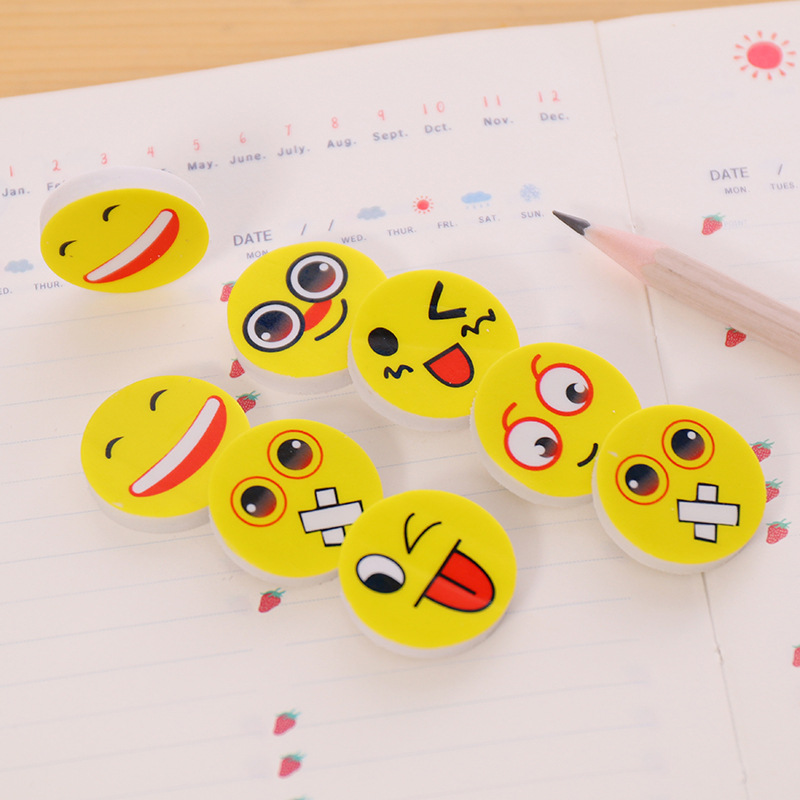 4 Pcs Korean Creative Stationery Student Award Smiley Face Eraser Cute Expression Eraser Children's Small Gifts Wholesale