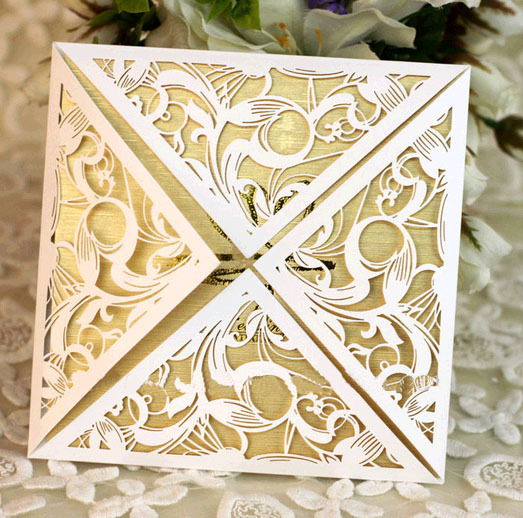Ivory white square laser cut wedding invitations paper folding card ivory white square laser cut wedding invitations paper folding card wholesale invitation supplies 50 sets printable stopboris Gallery
