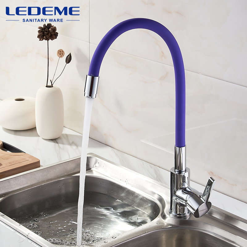 LEDEME Brass Pull Out Rotary Kitchen Faucet Mixer Tap For Sinks Single Handle Deck Mounted Hot And Cold Water Faucet L4898 -8 hpb brass pull out spray rotary brushed kitchen faucet sink mixer tap single handle deck mounted hot and cold water hp4114