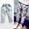 Мальчики джинсы 2016 детская одежда зима atummn мальчик темно distrressed середине эластичный пояс брюки завод прямых одежда верхняя качество