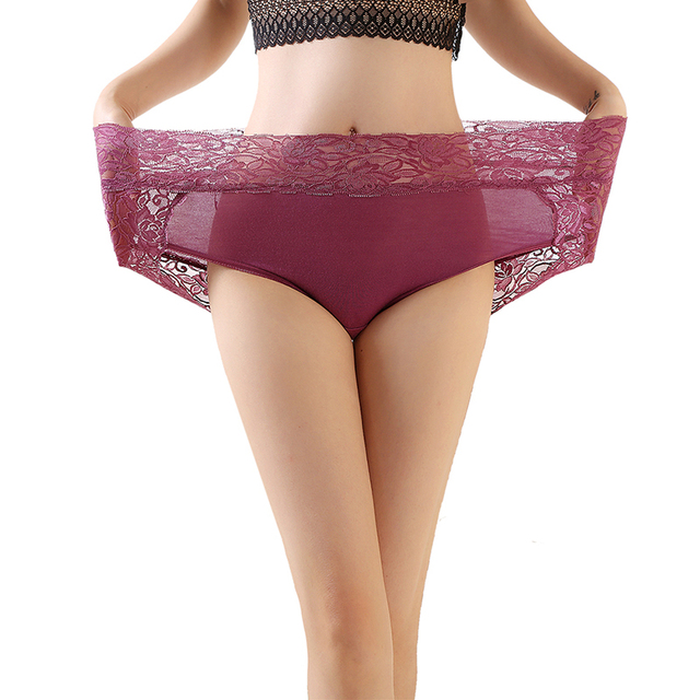 Women's Underwears Sexy lingeries Lace Panties Large Size High Waist Solid Color Breathable Hipsters 11 Colors