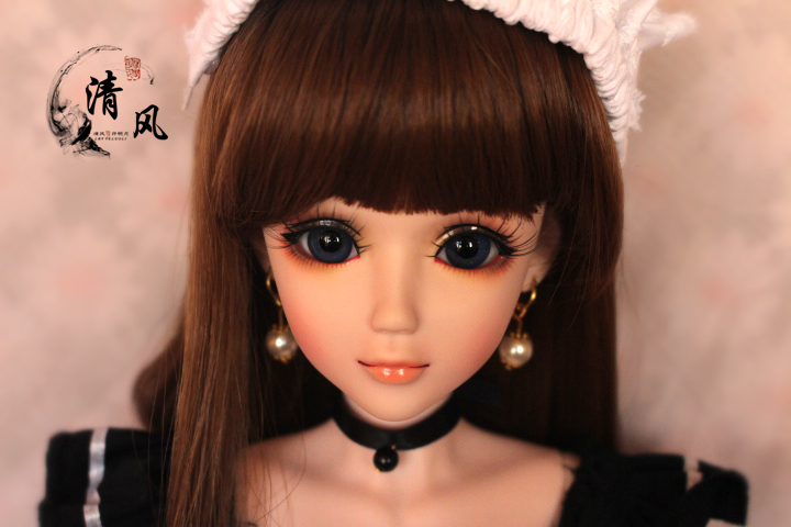 FULL SET Top quality pvc doll 1/3 girl bjd 60cm wig clothes shoes all included! night lolita reborn baby doll best Nico the maid mcoser 70cm 60cm long pink and blue mixed beautiful lolita wig anime wig