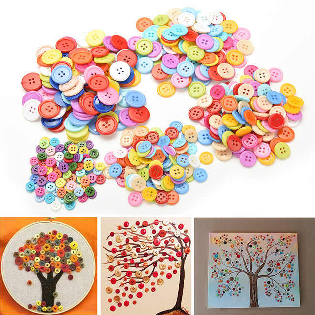 100 Pcs Random Mixed Assort Buttons Resin Painting Tools Sewing Buttons 2 Holes Flatback Scrapbook Knopf Bouton Appliques 9-20mm