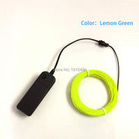 Car Styling Decor 5Meters Gorgeous Lime Green 2 3mm Neon EL Wire Rope DC 3V Flickering