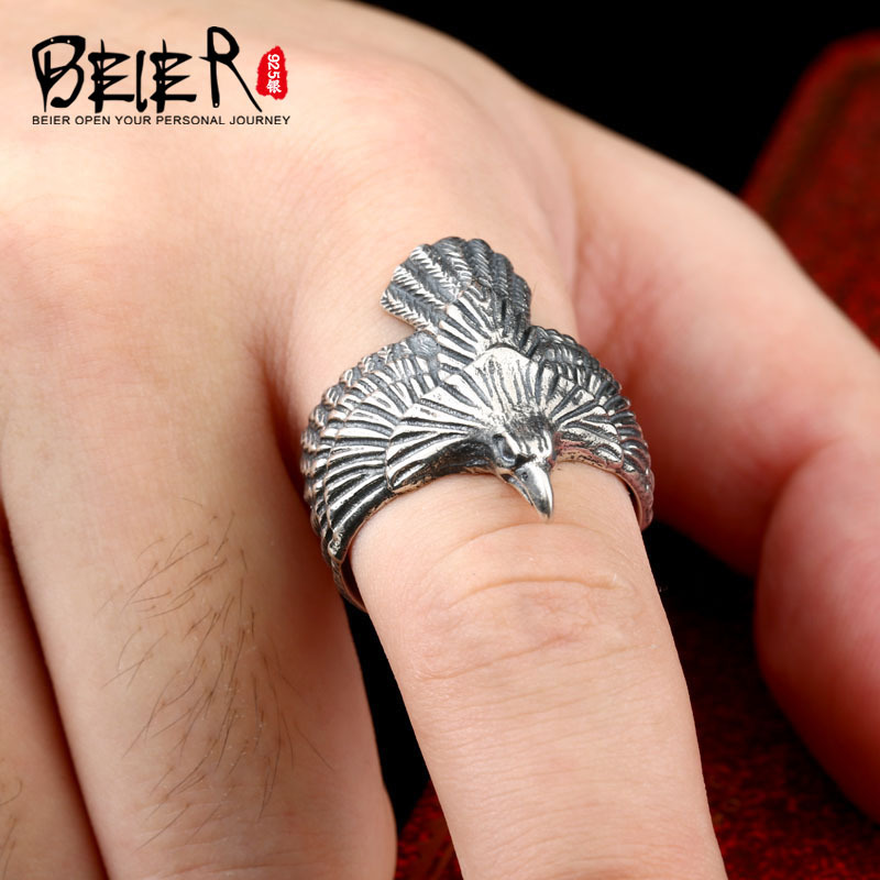 BEIER New arrive Unique Jewelry 100% 925 Steering Silver Biker Eagle Ring Man's High Quality USA Free Animal Jewerly BR-SR001