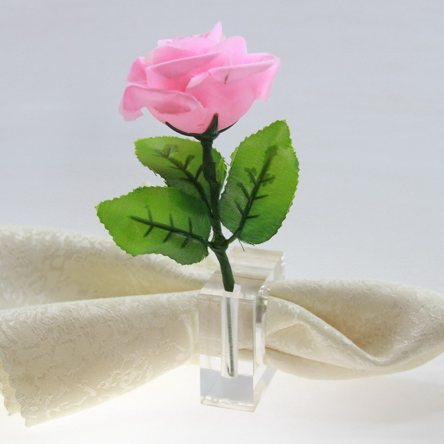 Free Shipping Clear Square Acrylic Napkin Ring With Flower Vase