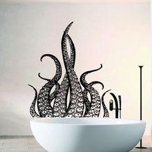 Octopus Wall Decal Tentacles Vinyl Wall Sticker Bathroom Decoration Sea Ocean Animal Wallpaper Octopus Style Bathroom Art AY953 short sleeve octopus tentacles print tee