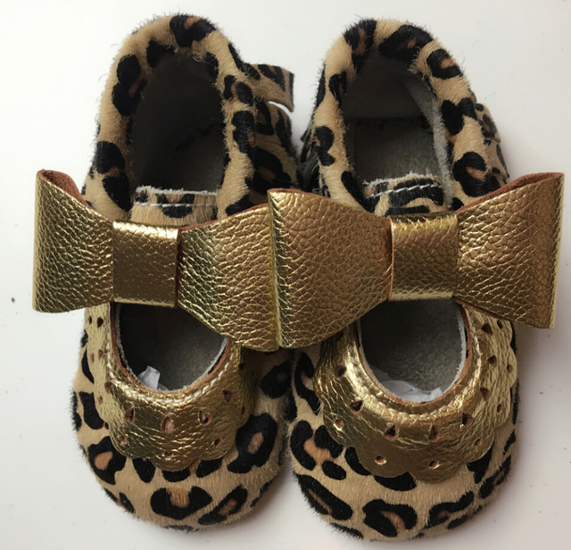 New Fashion Genuine leather  leopard mary jane  Baby Moccasins knot  First Walkers Newborn Soft  Infants Girls shoes