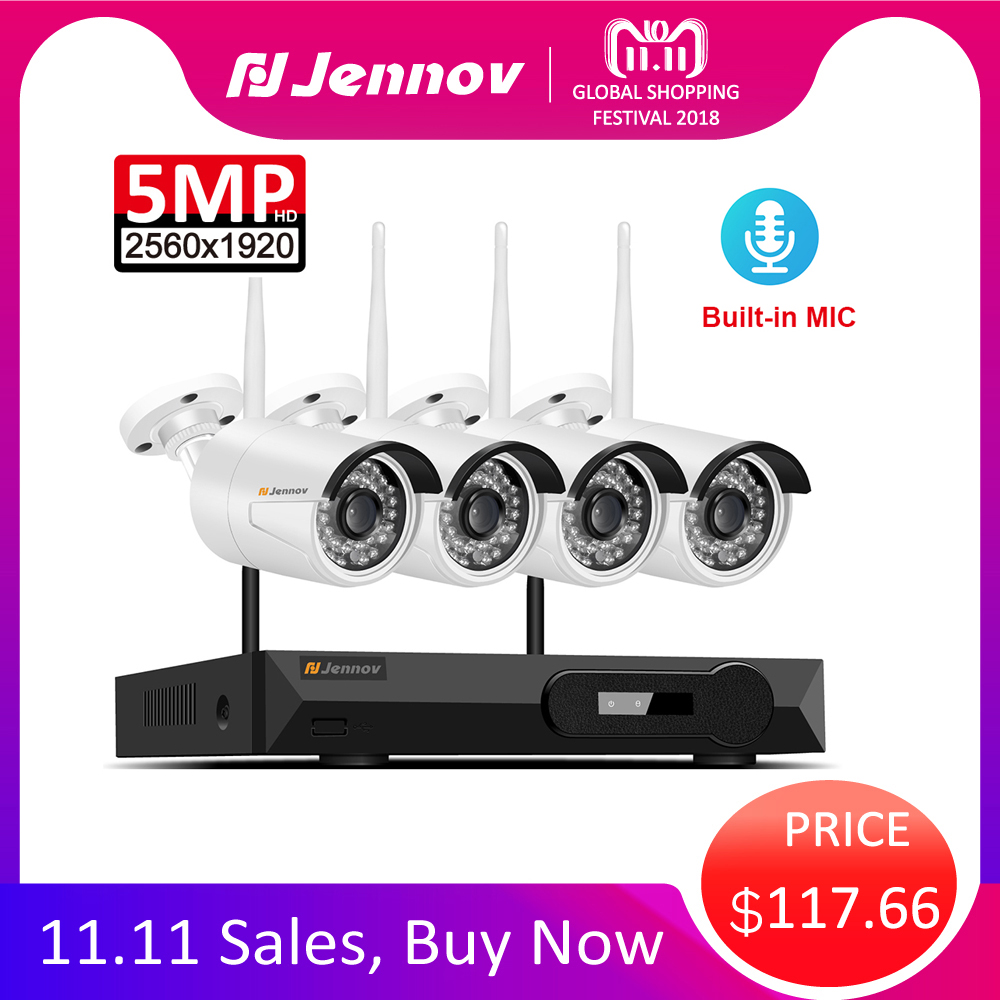 4CH Audio Record 5MP H.265 Full HD Home Wifi Wireless Security CCTV Camera System NVR Video Surveillance System WI-FI