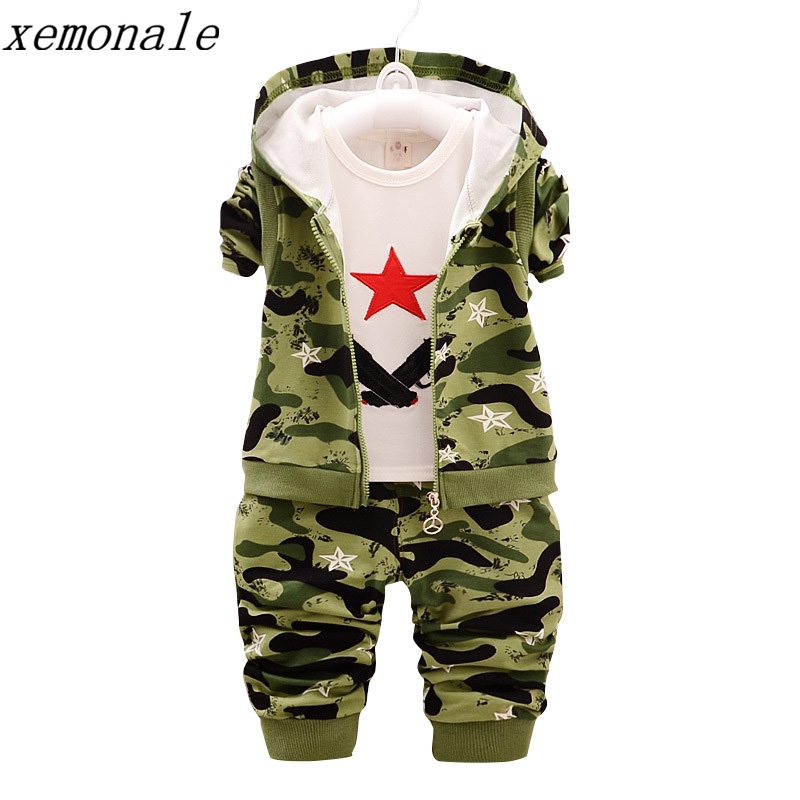 Children Camouflage Clothes Kids Sport Suit Fashion Brand Autumn Cotton Camo Hooded Vest And T-shirt And Pants 3Pcs Clothing Set