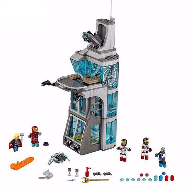 LEPIN 7114 Super Heroes Aegis Bureau headquarters Attack On Tower Brick Building Block Compatible with Legoe Avengers 76038 Toy кольца