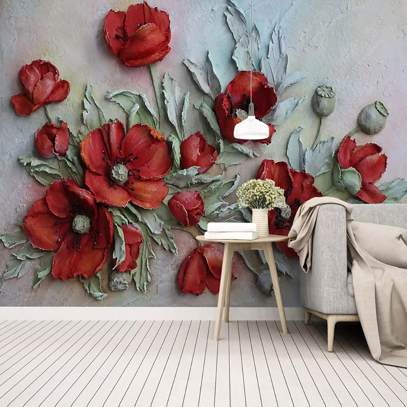 Photo Wallpaper 3D Stereo Relief Red Corn Poppy Flowers Fresco Living Room Wedding House Bedroom Romantic Home Decor Wall Papers