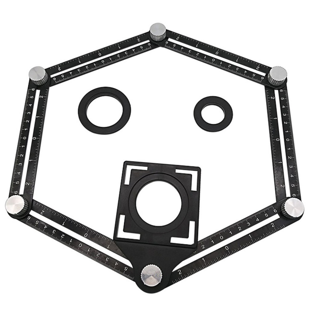 Aluminum Alloy Six-Fold Ruler Tile Opening Locator Mud Tile Shop Paste Floor Tile Glass Vientiane Universal Hole Punch Dropship