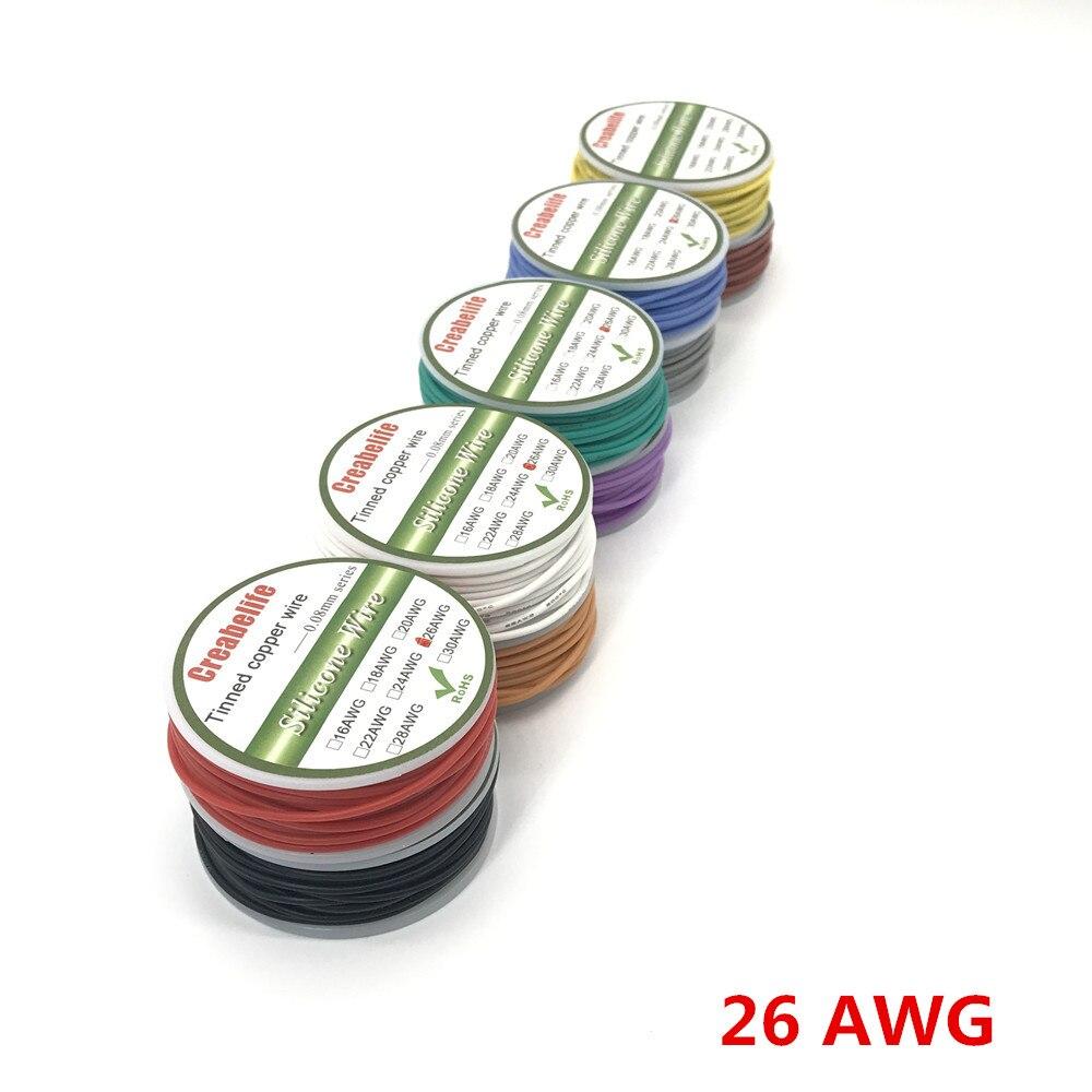 Flexible Silicone Fil RC Câble 28AWG Diamètre Extérieur 1.5mm Ligne Avec 10 Couleurs pour Sélectionner Avec Bobine fla