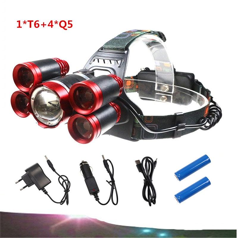 LED headlamp 1 T6 4 Q5 headlights 18650 battery charger USB emergency headlights 20000 lumens led