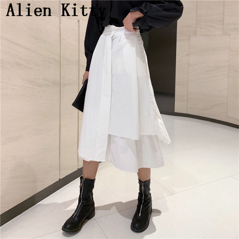 Alien Kitty Irregular Pendulum Sweet All Match Button Women Simple Hot Sale Solid High Waist Skirt Plus Size Skirts 2 Colors