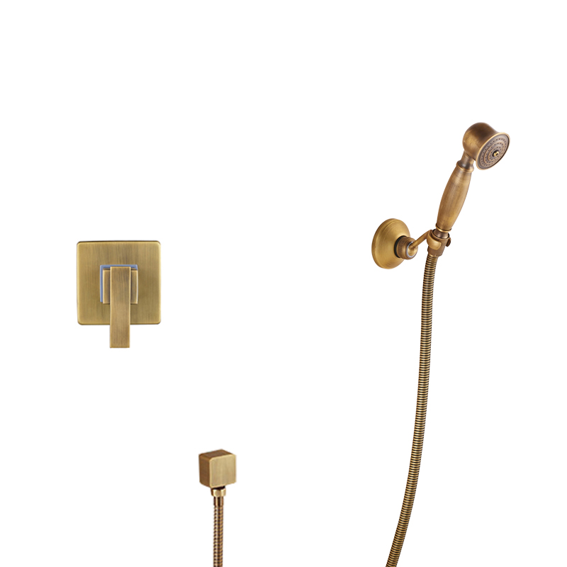 Antique Brass Shower Faucet Handheld Shower Mixers with Bracket Brass Mixer Valve Concealed Install Hot and Cold Water Tap 3 tap connect 3 4 5 gear screw thread thermostatic faucet valve shower room mixing valve cold and hot water switch separator