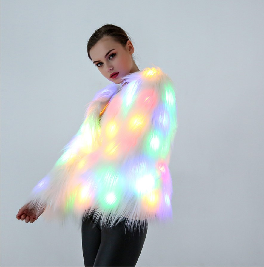 High Quality Plus Size Women Faux Fur Jacket Women Led Light Winter Warm Coat Christmas Costumes Cosplay Furry Fur Outwear