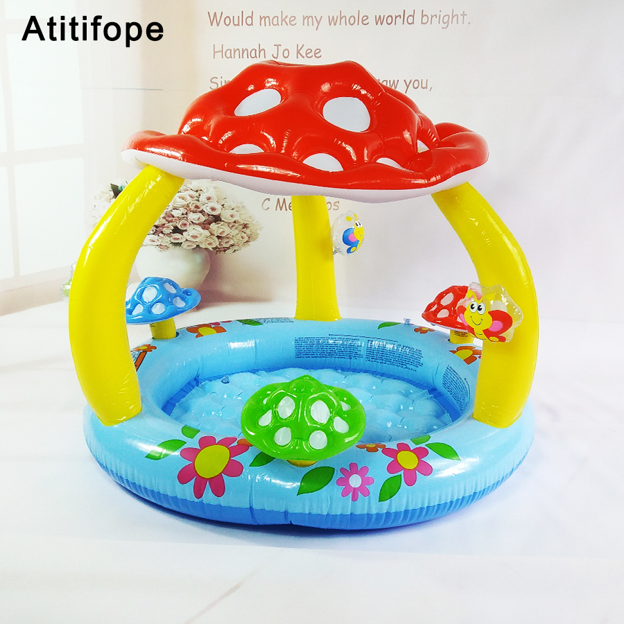 где купить Cute mushroom shaped high quality Top-ring Inflatable Support Plastic Bright colors Children's inflatable pool Garden pool по лучшей цене