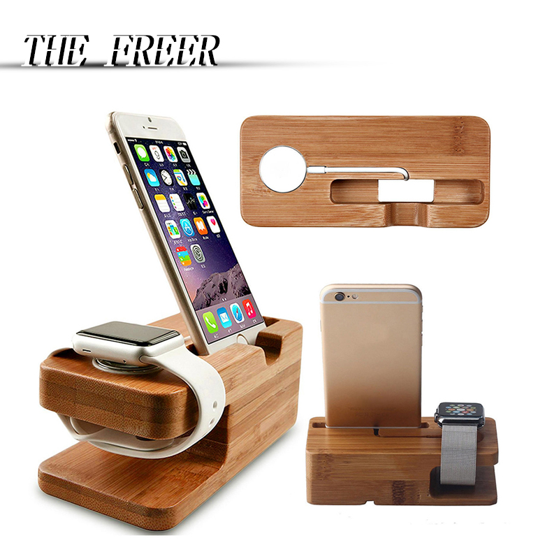 Wood Charger Station for Apple Watch Charging Dock Station Charger Stand Holder for iPhone 5s 6 Dock Stand Cradle Holder