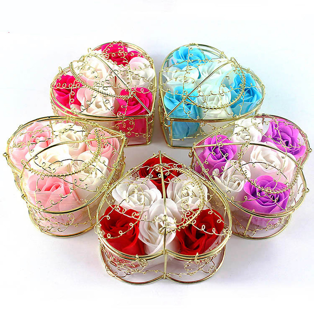 6Pcs Rose Soap Mixed Color Heart Scented Bath Body Petal Rose Flower Soap Wedding Decoration Best Gift For Lovers(China)