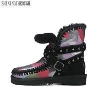 SHININGTHROUGH Top Qualität Neue Mode Rindsleder Schneeschuhe Echtpelz Klassische Mujer Botas größe 34-39 Winter Schuhe