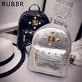 RU&BR Korean Fashion School Bags Mini Rivets Student Backpack For Women Teenagers Alligator Leather Girl Backpack High Quality