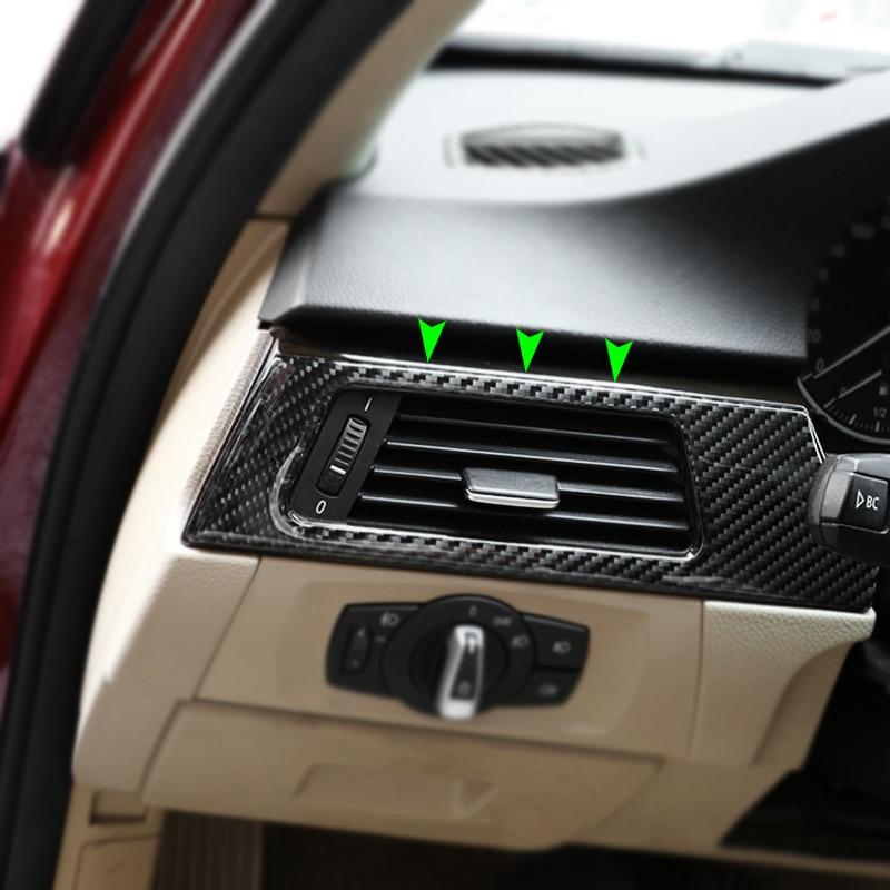 Carbon Fiber Car Interior Left Driver Side Air Conditioning Outlet Vent Cover Sticker Trim For BMW 3 Series E90 E92 E93 05-12
