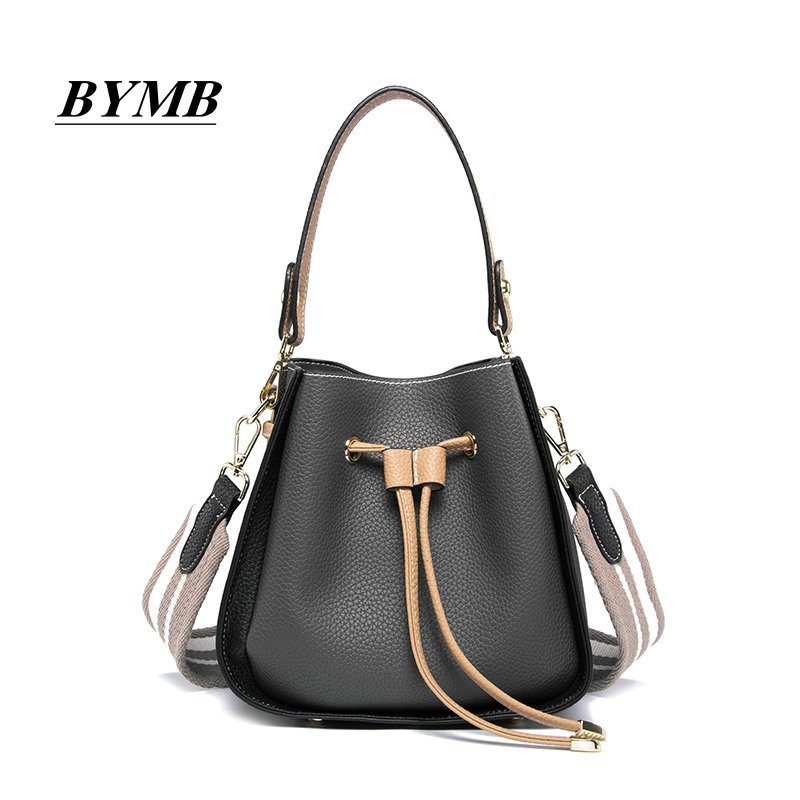 Genuine Leather bag The bucket bag female 2018 Korean version of the new color small bag slanting shoulder bag. aetoo leather bucket bag female messenger bag 2017 new korean version of the drawstring bucket baotou layer of leather simple le