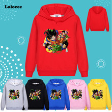 3-13 years Kids Dragon Ball Z Goku DBZ Hoodie Black Harajuku t shirt Girls Boys Spring Long Sleeve Sweatshirt  kong fu Tops Gray