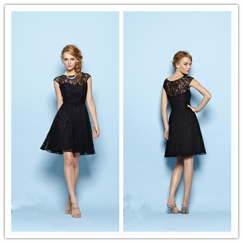 New Fashion High Neck Black Lace Bridesmaid Dresses Short See Though Cap Sleeve Prom Party Gowns