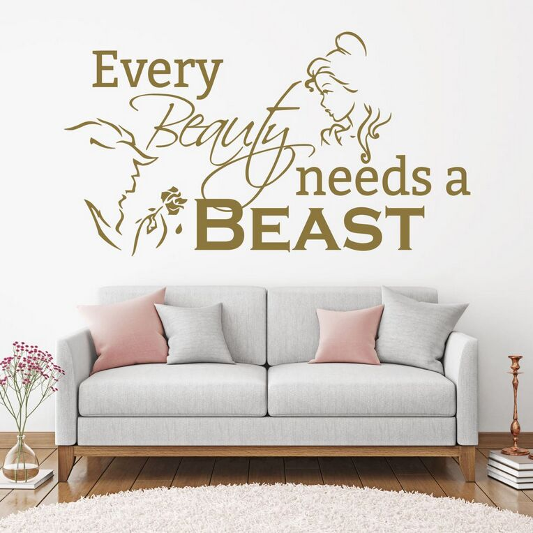 Inspired by Beauty and the Beast Wall Decal Sticker Beast Back to Back