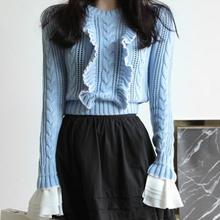 ผู้หญิงแฟชั่นใหม่เสื้อกันหนาวO-คอแขนยาวR Ufflesกลวงออกลายเสื้อถักผู้หญิงสบายๆเสื้อสวมหัวสั้นจัดส่งฟรี
