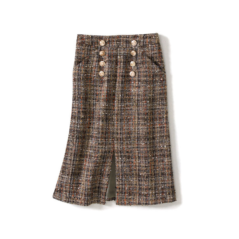 Double Breasted Gris De Jupe Luxe Plaid Femmes Longue Vintage Mode Main Tweed Pour Empire vzxBdAqnw